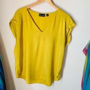 Golden Yellow Silky Relaxed Fit Blouse